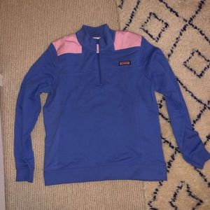 Vineyard vines pink and blue pull over jacket